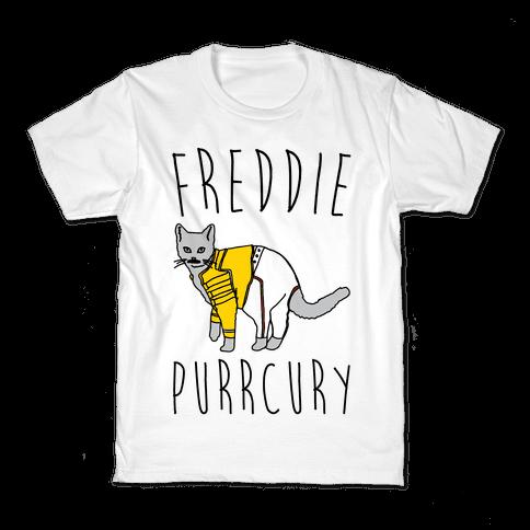 Freddie Purrcury Cat Parody Kids T-Shirt