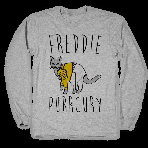 Freddie Purrcury Cat Parody Long Sleeve T-Shirt