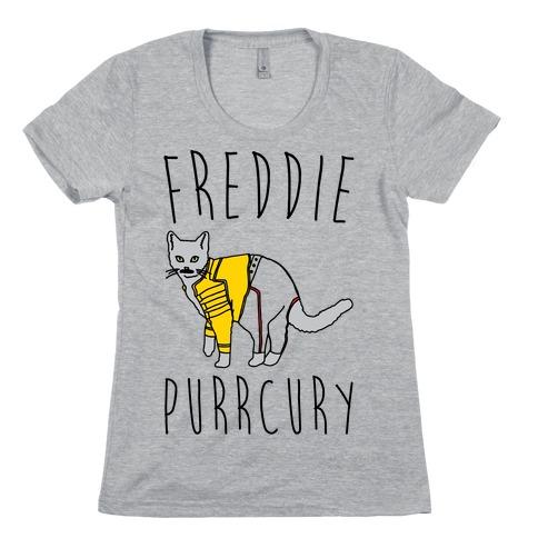 Freddie Purrcury Cat Parody Womens T-Shirt