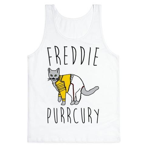 Freddie Purrcury Cat Parody Tank Top