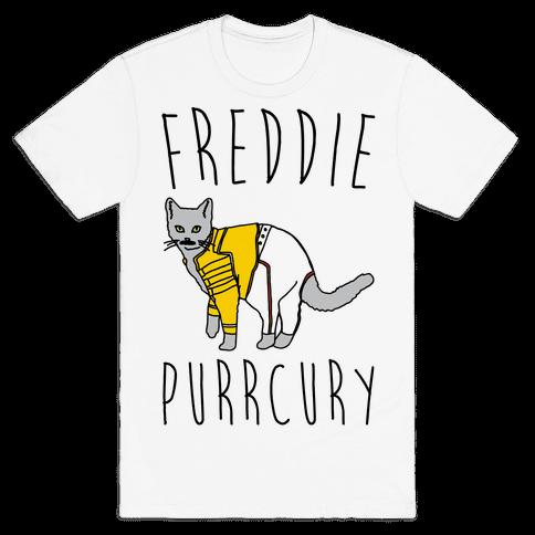 Freddie Purrcury Cat Parody Mens T-Shirt
