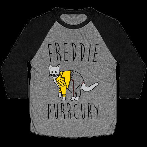 Freddie Purrcury Cat Parody Baseball Tee