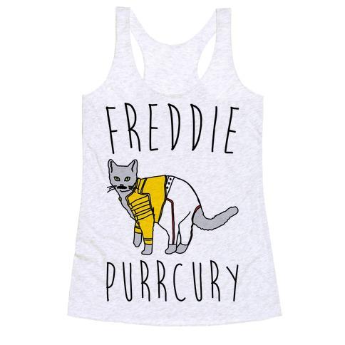 Freddie Purrcury Cat Parody Racerback Tank Top