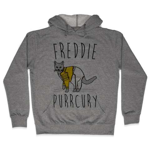 Freddie Purrcury Cat Parody Hooded Sweatshirt