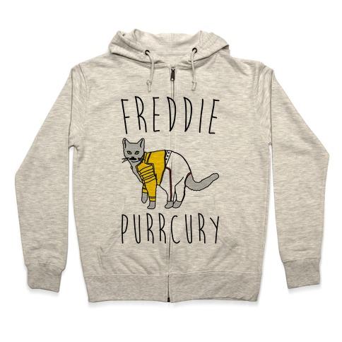Freddie Purrcury Cat Parody Zip Hoodie