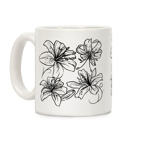 Black and White Tiger Lillies Pattern Coffee Mug