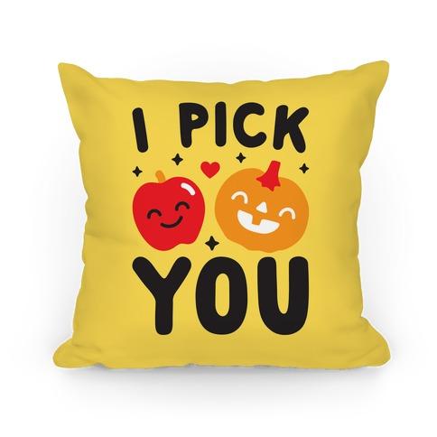 I Pick You Apple & Pumpkin Pillow