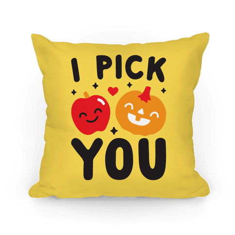 I Pick You Apple & Pumpkin Pillow