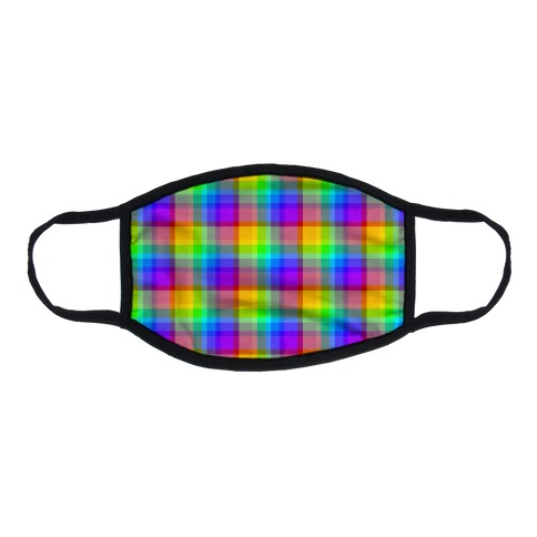 Rainbow Plaid Flat Face Mask