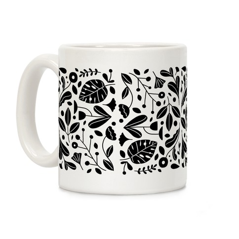Black and White Plant Pattern Coffee Mug