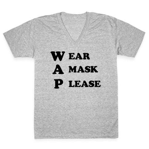 WAP Wear A Mask Please Parody V-Neck Tee Shirt