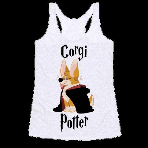 Corgi Potter Racerback Tank Top