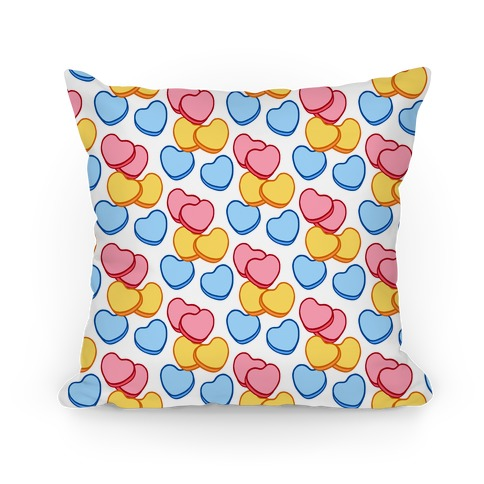 Candy Hearts Pattern White Pillow
