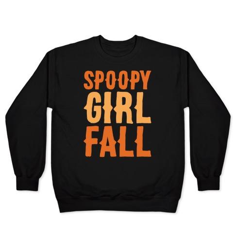 Spoopy Girl Fall Parody White Print Pullover