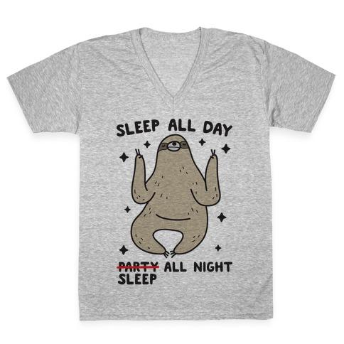 Sleep All Day Sleep All Night Sloth V-Neck Tee Shirt