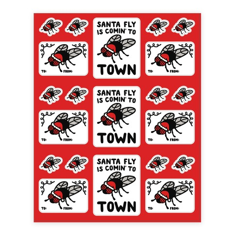 Santa Fly Is Coming To Town  Sticker and Decal Sheet