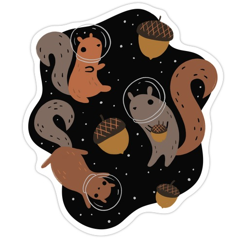 Squirrels In Space Die Cut Sticker