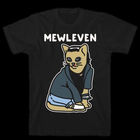 Mewleven Parody White Print Mens T-Shirt