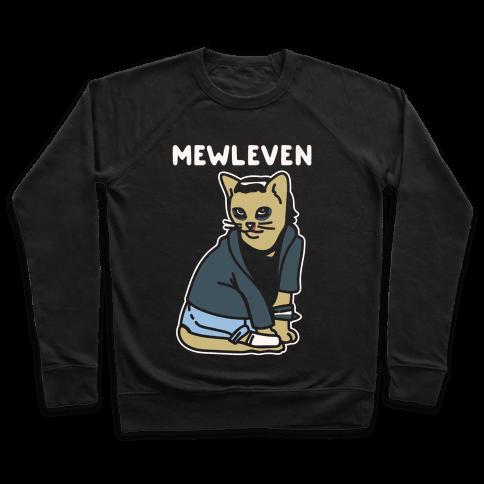 Mewleven Parody White Print Pullover