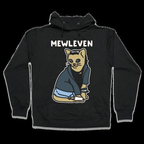 Mewleven Parody White Print Hooded Sweatshirt