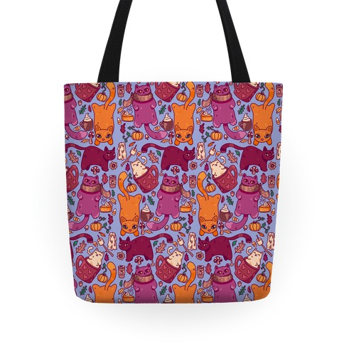 Fall Cats Pattern Tote