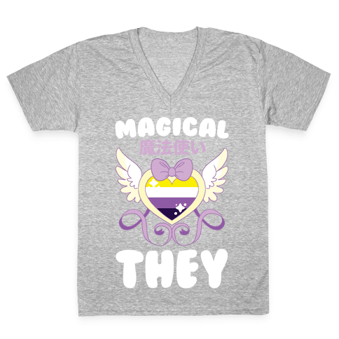 Magical They - Non-binary Pride V-Neck Tee Shirt