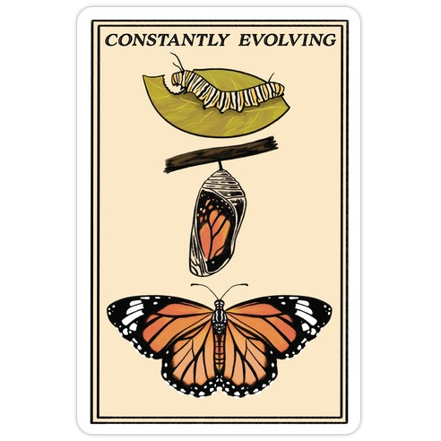 Constantly Evolving Monarch Butterfly Die Cut Sticker