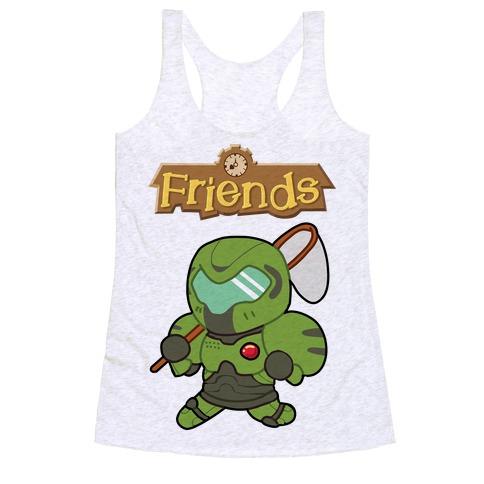 Best Friends Doomguy and Isabelle Racerback Tank Top