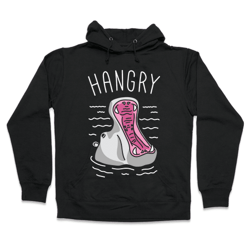Hangry Hippo (White) Hooded Sweatshirt