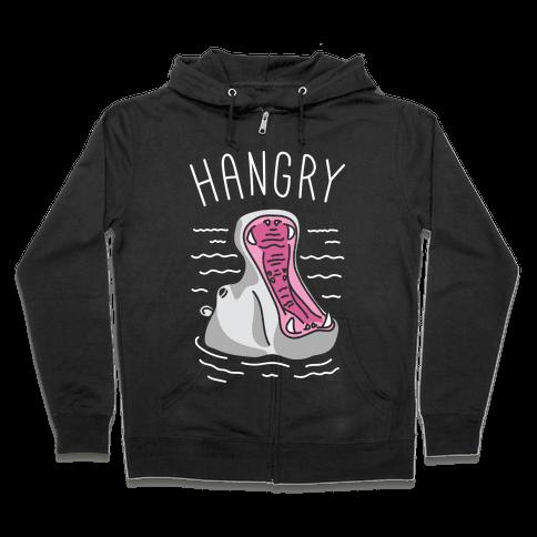 Hangry Hippo (White) Zip Hoodie