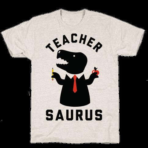 Teacher Saurus Tie Mens T-Shirt