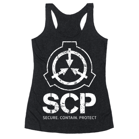 SCP Secure. Contain. Protect Racerback Tank Top