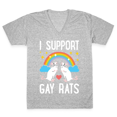 I Support Gay Rats V-Neck Tee Shirt