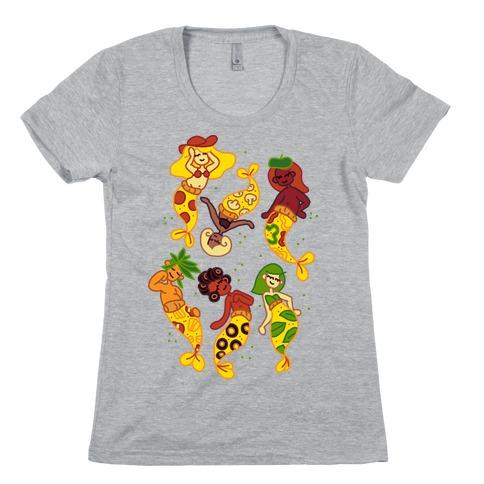 Pizza Mermaids Womens T-Shirt