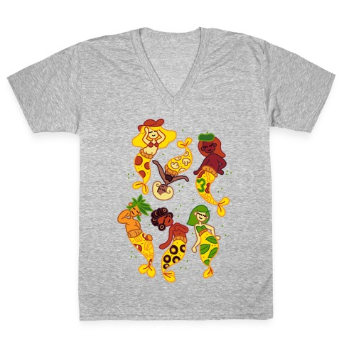 Pizza Mermaids V-Neck Tee Shirt