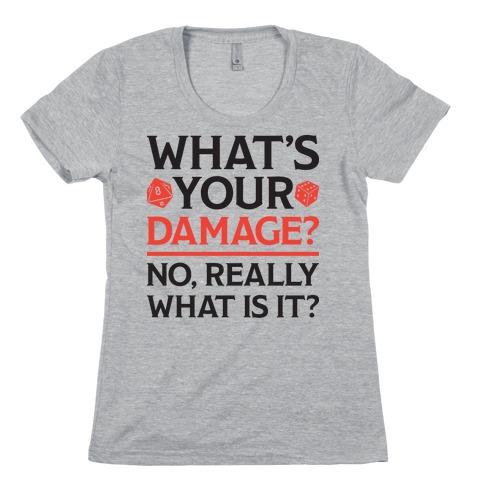 What's Your Damage D&D Womens T-Shirt