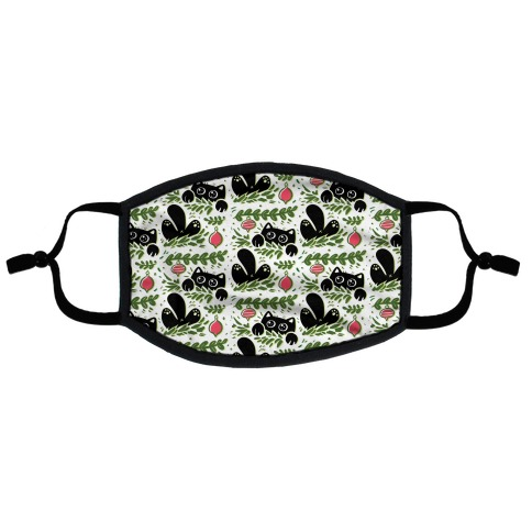 Cat In Christmas Tree Pattern Flat Face Mask