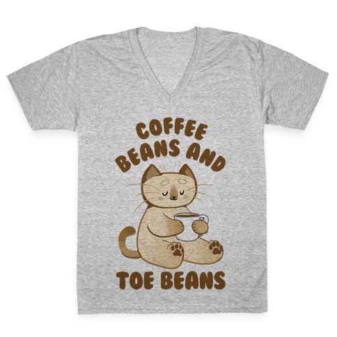 Coffee Beans and Toe Beans V-Neck Tee Shirt