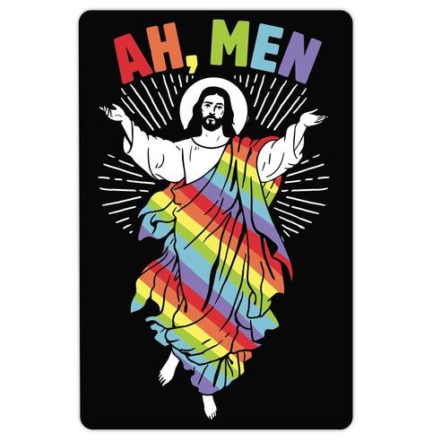 AH, Men Gay Jesus (CmYK) Die Cut Sticker