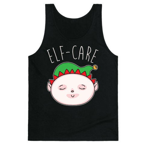 Elf-Care Elf Self-Care Christmas Parody White Print Tank Top