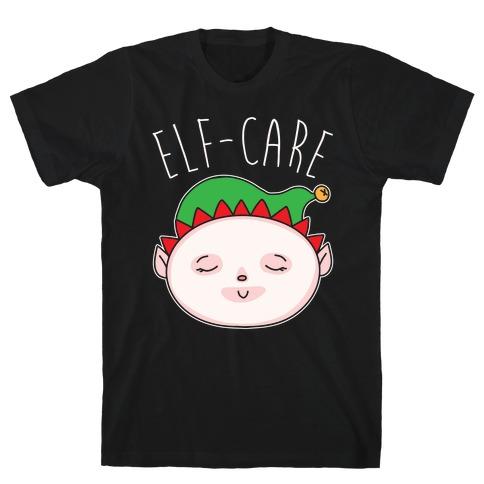 Elf-Care Elf Self-Care Christmas Parody White Print T-Shirt