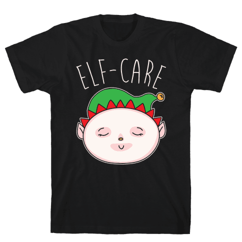 Elf-Care Elf Self-Care Christmas Parody White Print Mens T-Shirt