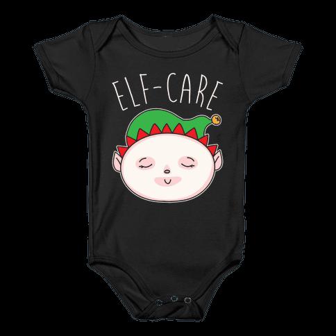 Elf-Care Elf Self-Care Christmas Parody White Print Baby Onesy
