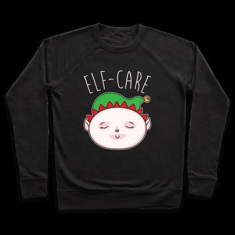 Elf-Care Elf Self-Care Christmas Parody White Print Pullover