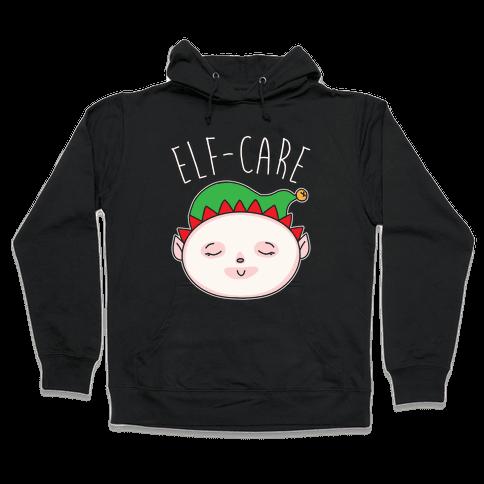 Elf-Care Elf Self-Care Christmas Parody White Print Hooded Sweatshirt