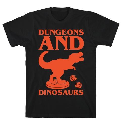 Dungeons and Dinosaurs Parody White Print T-Shirt