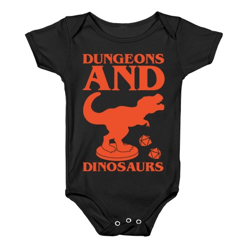 Dungeons and Dinosaurs Parody White Print Baby Onesy
