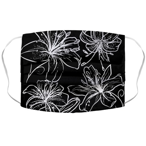Black and White Tiger Lillies Pattern on Black Face Mask Cover