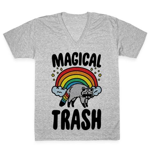 Magical Trash Raccoon V-Neck Tee Shirt