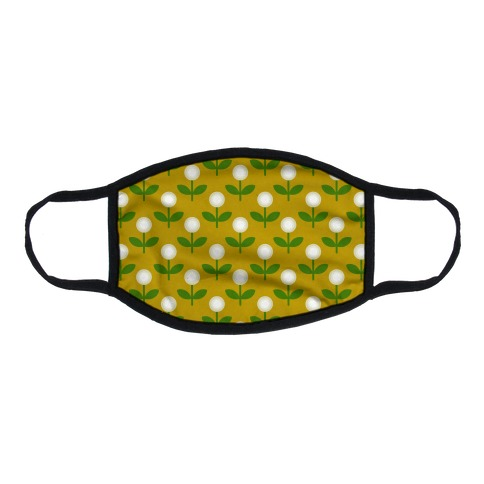 Dainty Retro Dandelions Yellow Pattern Flat Face Mask